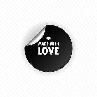 Feito com amor. círculo, etiqueta, adesivo. feito com citação de letras de inscrição de amor. feito com caligrafia de amor. feito com cartão de amor. ilustração em vetor plana dos desenhos animados para design de sites e banners da web.