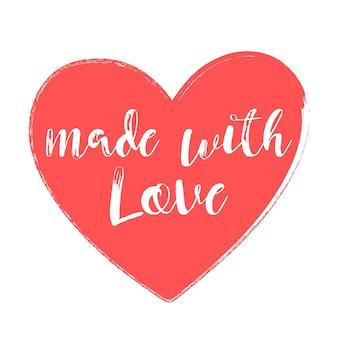 Feito com amor estilo manuscrito ilustração vetorial de coração