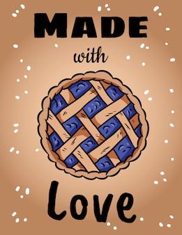 Feito com amor fofa ilustração aconchegante com torta de outono