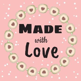 Feito com banner de amor com xícaras de café com canela em pó de coração Vetor Premium