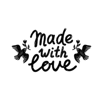 Feito com o ícone ou logotipo de amor. ícone de carimbo vintage com letras de amor e pássaros.