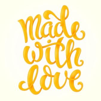 Feito com poster de amor com letras desenhadas à mão