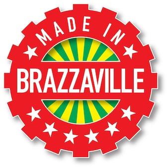 Feito em carimbo da cor da bandeira de brazzaville. ilustração vetorial
