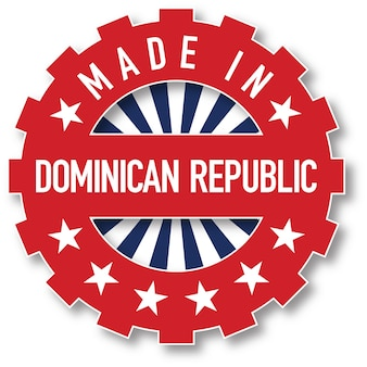 Feito em carimbo de cor de bandeira da república dominicana. ilustração vetorial