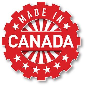 Feito em carimbo de cor de bandeira do canadá. ilustração vetorial