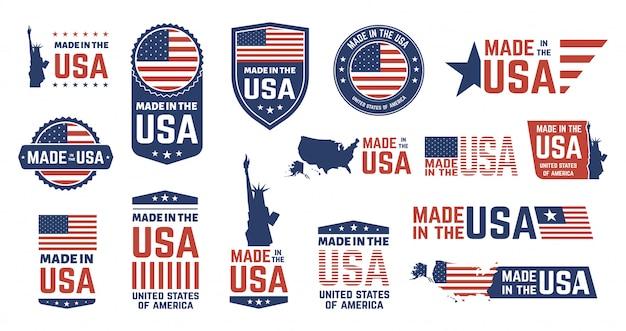 Feito em emblemas dos eua. patriota orgulhoso rótulo carimbo, bandeira americana e símbolos nacionais, conjunto de emblemas patrióticos dos estados unidos da américa. etiquetas de produtos dos eua, emblemas do dia da independência nacional