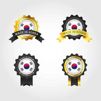 Feito na coréia do sul com emblema emblema etiquetas ilustração modelo de design