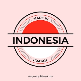Feito na etiqueta da indonésia