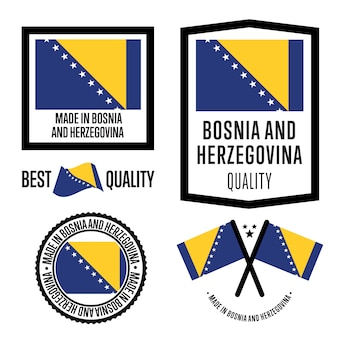 Feito no conjunto de etiquetas da bósnia e herzegovina