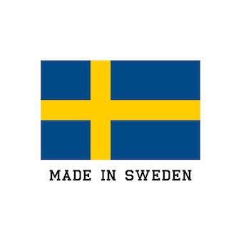 Feito no ícone da suécia com bandeira. logotipo do vetor do rótulo para design de pacote.