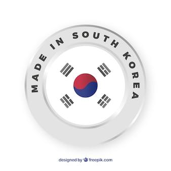 Feito no rótulo da coreia do sul