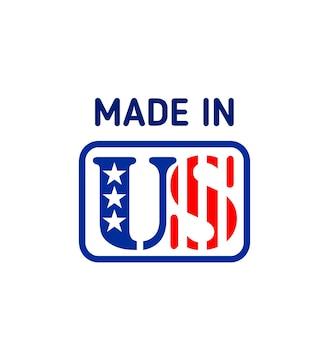 Feito no rótulo de vetor eua ou sinal com a bandeira dos estados unidos da américa. bandeira nacional americana de estrelas e listras, etiqueta de produto de qualidade dos eua e design de emblema orgulhoso patriótico