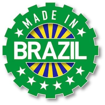 Feito no selo da cor da bandeira do brasil. ilustração vetorial