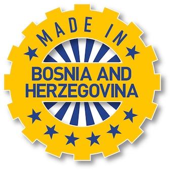 Feito no selo de cor de bandeira da bósnia e herzegovina. ilustração vetorial