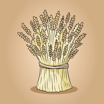 Feixe de doodle de esboço de centeio de trigo