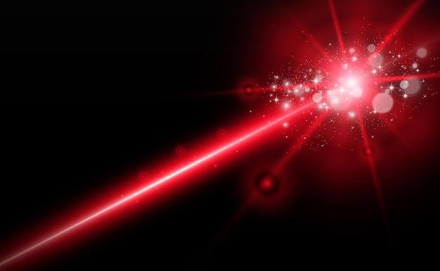 Feixe de laser abstrato transparente isolado em fundo preto.