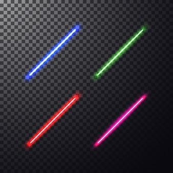 Feixe de laser colorido brilhante realista.