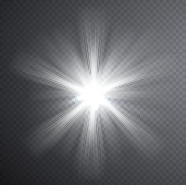 Feixe de luz branca, efeito de luz transparente