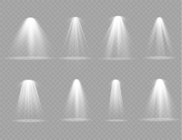 Feixe do projetor de teatro vertical de brilho. fontes de luz, iluminação de concertos, holofotes de palco.