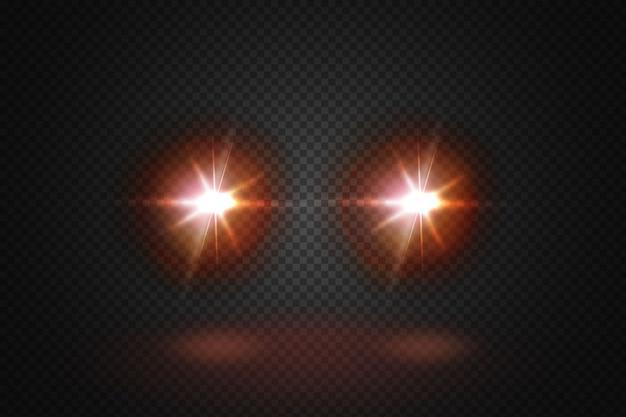 Feixes brilhantes dianteiros do carro. raios vermelhos realistas redondos faróis de transporte na fumaça, névoa ou poeira. i.isolated em fundo preto.