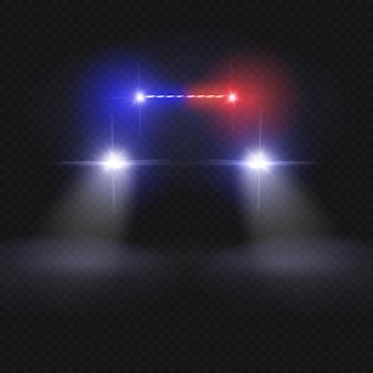 Feixes de farol de carro de polícia. automóvel no conceito de vetor de estrada de noite. luz do carro de polícia, auto farol na ilustração da noite