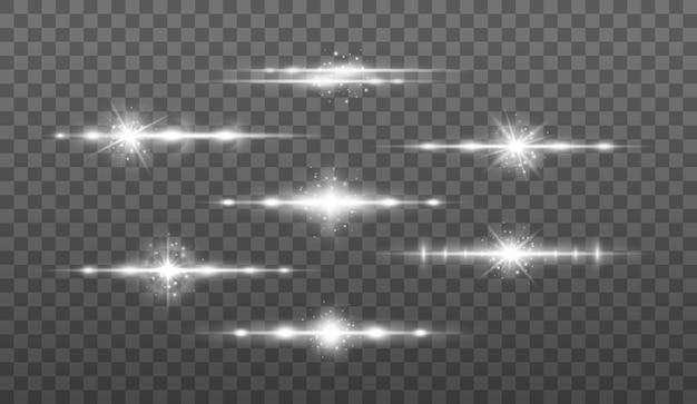 Feixes de laser, conjunto de raios de luz horizontal