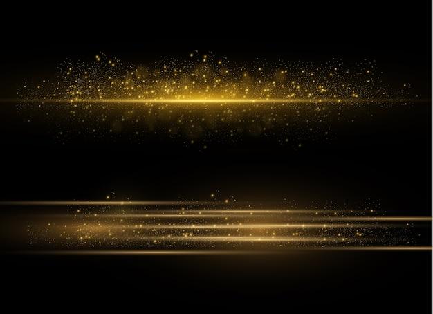 Feixes de laser horizontais amarelos, raios de luz horizontais. cintilante abstrato luminoso.