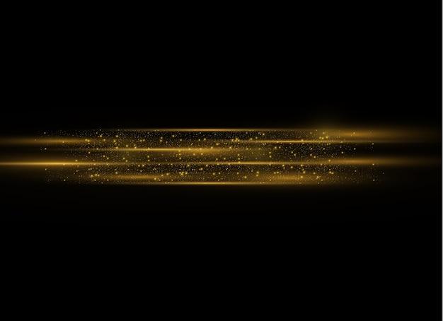 Feixes de laser horizontais amarelos, raios de luz horizontais.