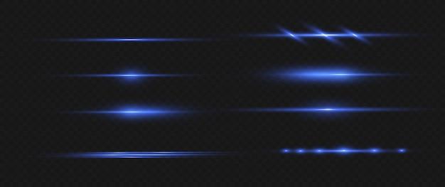 Feixes de laser horizontais azuis, raios de luz horizontais.