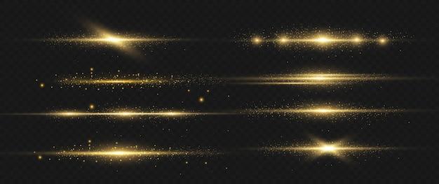 Feixes de laser horizontais, raios de luz horizontais.