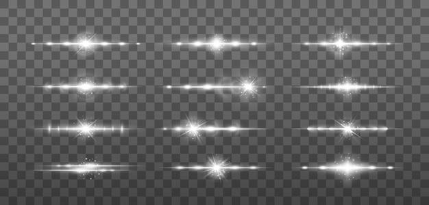 Feixes de laser, raios de luz horizontais. listras brilhantes sobre fundo claro.