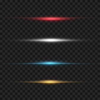 Feixes de laser, raios de luz horizontais.