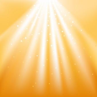 Feixes de luz com estrelas cadentes