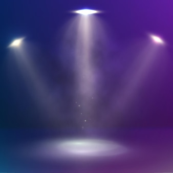 Feixes de três holofotes iluminam o palco. desenho de fundo de cena abstrata com holofotes e fumaça. fundo azul escuro e rosa.