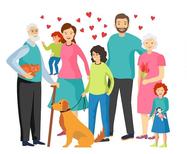 Felicidade da família. família feliz junto. personagens idosos, mãe, pai, filhos. família com ilustração de animais de estimação