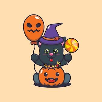 Felicidade do gato fofo no dia do dia das bruxas ilustração dos desenhos animados fofos do dia das bruxas