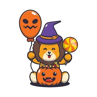 Felicidade do leão fofo no dia do dia das bruxas ilustração dos desenhos animados fofos do halloween