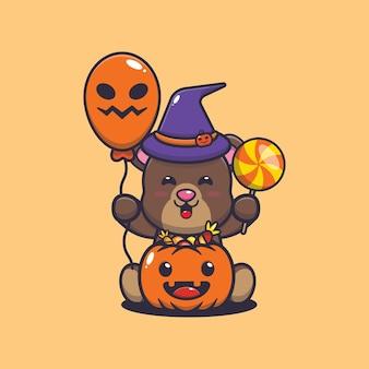 Felicidade do urso fofo no dia do dia das bruxas ilustração dos desenhos animados fofos do halloween