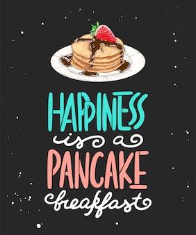 Felicidade é um café da manhã panqueca, esboço de panqueca