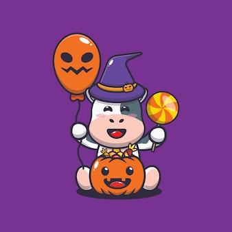 Felicidade fofa da vaca no dia do dia das bruxas ilustração fofa dos desenhos animados do halloween