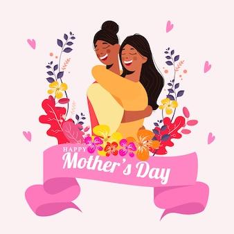 Felicidade mãe e filha, abraçando-se com floral colorido e corações