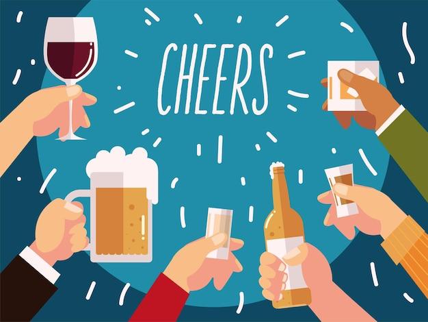 Felicidades as mãos com cerveja, vinho, coquetéis e garrafas de bebidas