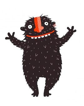 Felicidades de caráter monstro peculiares sorridente feliz