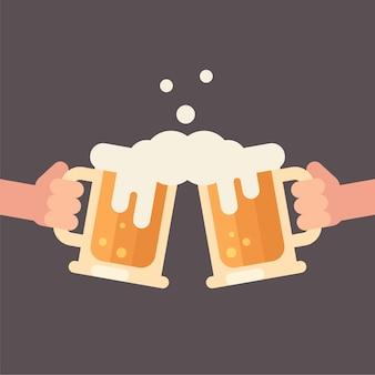 Felicidades, duas mãos segurando ilustração plana canecas de cerveja