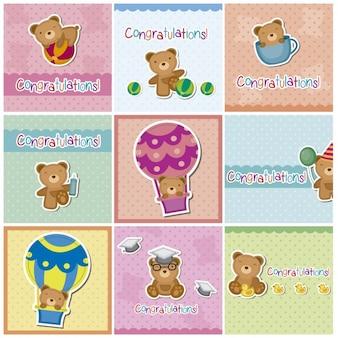 Felicitações cartões com ursos