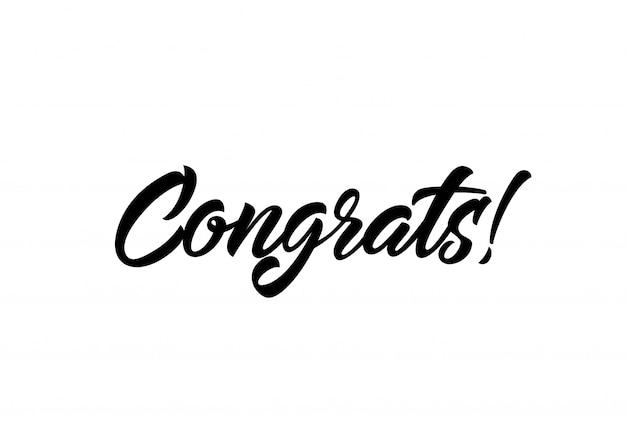 Felicitações em letras caligráficas