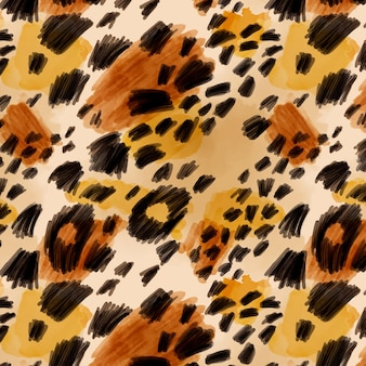 Felino animal estampado em aquarela sem costura padrão