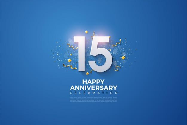 Feliz 15º aniversário com festa festiva em fundo azul.