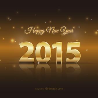 Feliz 2015 cartão dourado