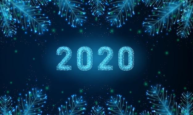 Feliz 2020 ano novo abstrato com galhos de árvores em forma.